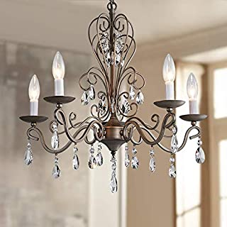 Bestier Wrought Antique Nickel Iron Rustic Vintage Pendant Candle Chandelier Crystal Lighting Fixture Lamp for Dining Room Bathroom Foyer Livingroom 5 E12 Bulbs Required D22 in x H20 in