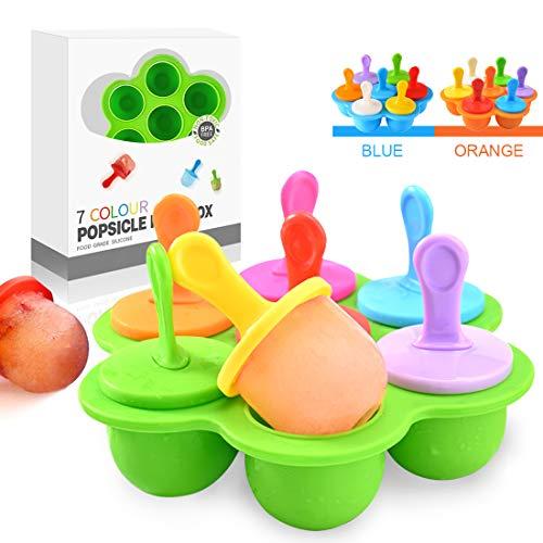 Eisförmchen Popsicle Formen, Mini Eisformen Eis Silikonform, Silikon Eis am Stiel Eislutscher Formen, Mini Eisform für Kinder, Baby, Förmchen zum Einfrieren von Obst oder Joghurt (Grün)