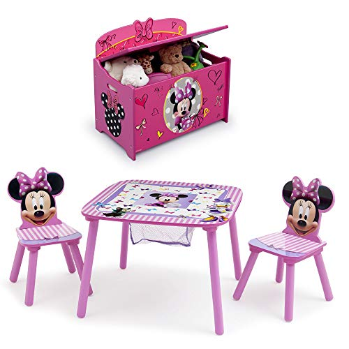 Disney Minnie Mouse 4-Piece Playroom Set – Set Includes Table and 2 Chair Set and Deluxe Toy Box by Delta Children