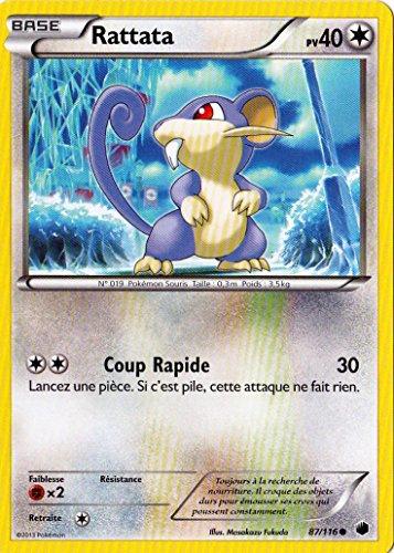 carte Pokémon Rattata 40 PV 87/116 GLACIATION PLASMA NEUF FR