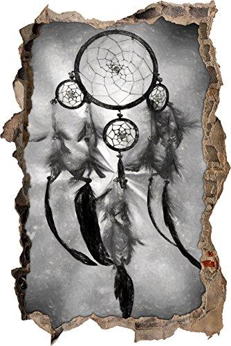 Indianischer Traumfänger Kunst Kohle Effekt Wanddurchbruch im 3D-Look, Wand- oder Türaufkleber Format: 62x42cm, Wandsticker, Wandtattoo, Wanddekoration