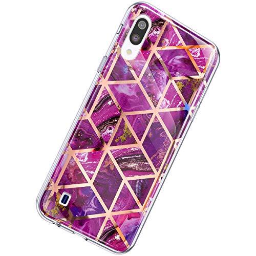 Herbests Kompatibel mit Samsung Galaxy A10 Hülle Marmor Muster Glänzend Glitzer Bling Weich Silikon Hülle Kratzfest Schutzhülle Tasche Crystal Case Durchsichtig Dünn Handyhülle,Marmor Lila