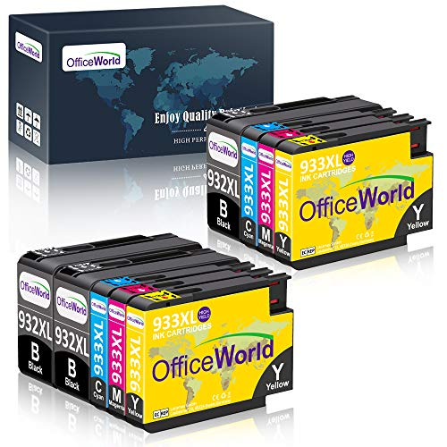 OfficeWorld 932 933 Compatibile Sostituzione per HP 932XL 933XL Cartucce d'inchiostro Alta capacità Compatibile con HP Officejet 7612 6700 6100 6600 7110 7610 (3 Nero, 2 Ciano, 2 Magenta, 2 Giallo)