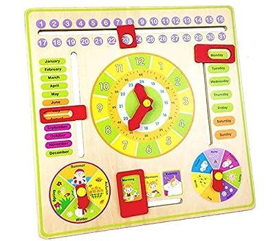 Gobus Puntero de Madera Reloj Digital Desarrollo Educativo Juguete para Que los niños aprendan Calendario, Hora, Fecha, Días laborables, Tiempo y Estaciones de Gobus