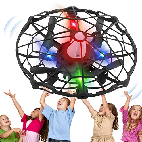 Hand Operated Drones for Kids, Mini Drone UFO Kids Drone with Led Lights, Levitation Drones Flying Ball Drone Toy 360 Rotating Helicopter with Infrared Sensor for Boys Girls Adult Indoor Outdoor