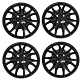 TuningPros WSC3-533B17 4pcs Set Snap-On Type (Pop-On) 17-Inches Matte Black Hubcaps Wheel Cover