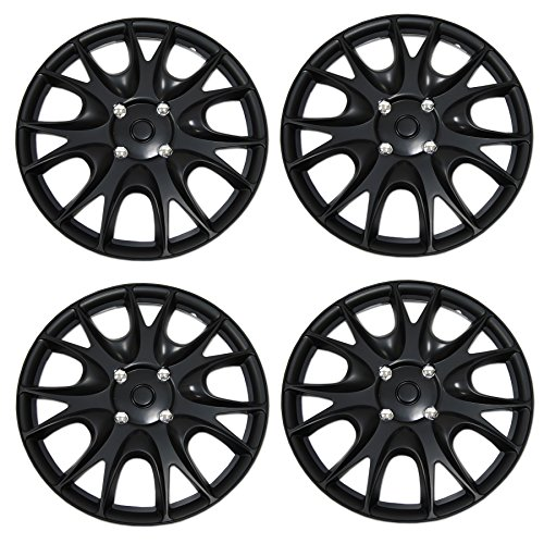 Tuningpros WC-15-3533-B - Pack of 4 Hubcaps - 15-Inches Style Snap-On (Pop-On) Type Matte Black Wheel Covers Hub-caps