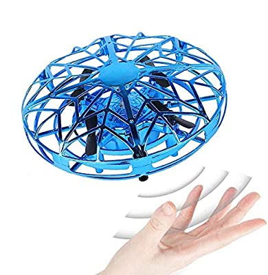 JCT Mini Drone for Kids UFO Flying Ball Toys,Hand Controlled Interactive Infrared Induction Helicopter Ball with360° Rotating and LED Lights For 4-12Years Children Boys Girls Kids Toys Gifts (Blue)