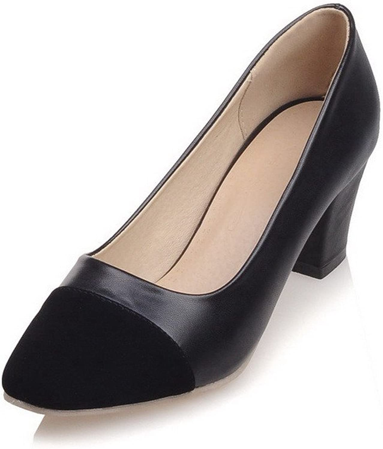 WeenFashion Women's Blend Materials Kitten-Heels Square Closed Toe Pull-on Pumps-shoes
