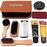 DigHealth 8 Piezas Kit de Cuidado de Zapatos, Kit de Zapatos Limpieza con Betún para Zapatos, Crema Negro y Incolora de Zapatos, Cepillo, Cepillo de Esponja, Calzador y Paño de Pulido en Estuche Viaje