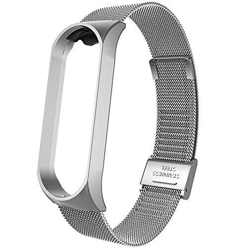 LRJBFC Correa de Metal para Xiaomi MI Banda 4 Pulsera Smart Reloj Correa para Xiaomi MIBAND 3 Reemplazo de Accesorios de Correa Transpirable (Color : Silver, Size : For mi Band 4)