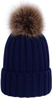 LAUSONS Sombreros de punto de invierno para mujer - Gorros tejidos de canalé con pompón de piel sintética de quita y pon