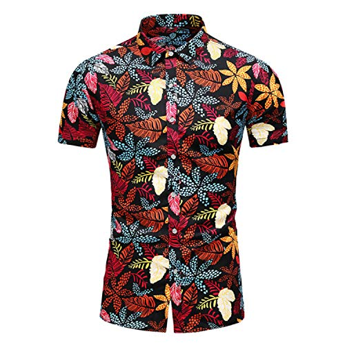 JinJ Pulseras Camisa de manga corta para hombre, casual, hawaiana, camisas florales, para hombre, tallas grandes, 5XL, 6XL, 7XL