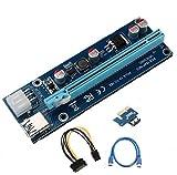 (6 Pack) 6-pin Powered PCI-E PCI Express Riser – ver-006 C – 1 x zu 16 x PCIe USB 3.0 Adapter Karte – mit USB Verlängerungskabel – GPU Grafikkarte Crypto Währung Bergbau - 6
