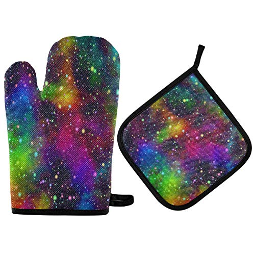 N/E RXYY Abstract Colorful Universe Galaxy Oven Mitts Quilted Cotton Lining Potholders BBQ Gloves-Oven Mitts and Pot Holders Heat Resistant Kitchen Gloves Safe Mats forBakingCooking