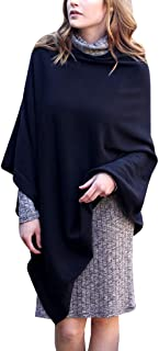 Women's 5-Way Knit Poncho Sweater Pullover Topper, 100% Organic Cotton Super Soft Lightweight All-Season