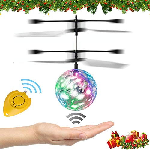 Flying Ball, WEKITY Hand Spinner RC Drone Helicopter with LED Lighting Flashing,Aircraft Helicopter Induction Toy Shinning Electronic Light-Up Toys for Kids Teenagers