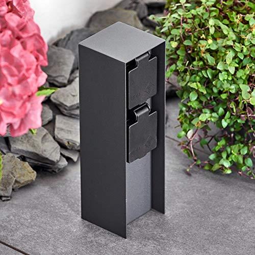 Außensteckdose Abilene, Gartensteckdose aus Metall in Anthrazit mit 2 Steckdosen und Klappdeckeln zur Festinstallation, Mehrfachsteckdose für draußen, IP 44