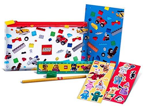 LEGO Set de papelería con artículos de marca listos para algunas tareas escolares, incluyendo un estuche para lápices, cuaderno, pegatinas, lápiz, regla y goma de borrar.
