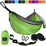 Gold Armour Camping Hammock - USA Brand Single Parachute Hammock (2 Tree Straps 10 Loops/20 ft Included) Lightweight Nylon Portable Adult Kids Best Accessories Gear (Lime Green and Gray)