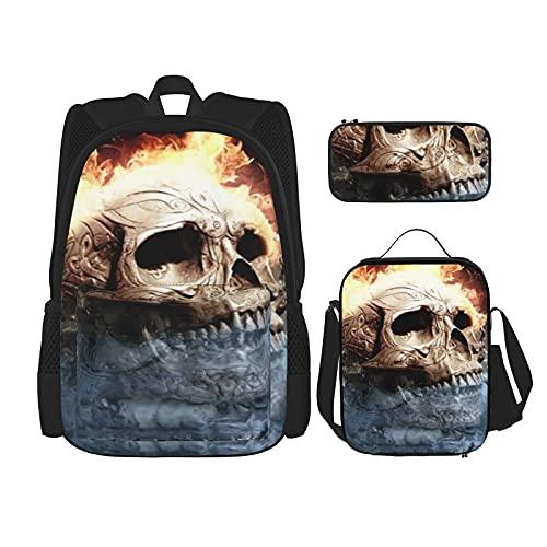 Llama calavera en bola de cristal viaje camping mochila juvenil, mochila escolar 3 piezas conjunto, bolsa escolar+bolsa de almuerzo combinación