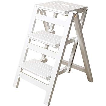 Escaleras Escalerillas Escalera Plegable de 3 Pasos de Madera Blanca Ligera y Plegable para niños Adultos para la Cocina de Loft de la Biblioteca decoración del hogar - Capacidad de 150 kg: