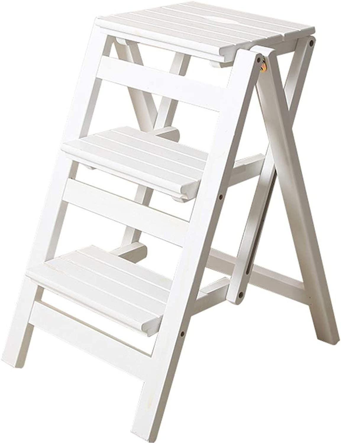 DQMSB Folding Solid Wood Ladder Stool Chair Multi-Function Ladder Pedal Stair Stair Chair 300 Lb Capacity (White) (Size   3 Wide Steps)