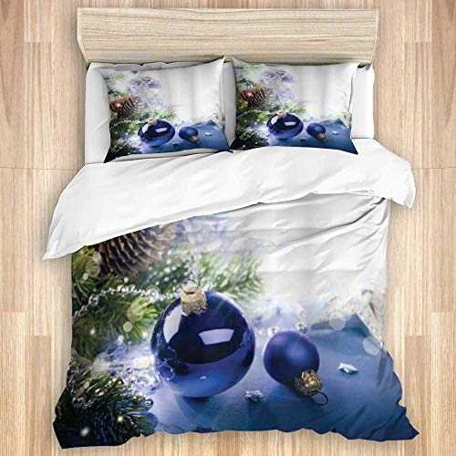 Duvet Cover,Christmas Colorful Blue Toned Ornaments of Winter Holidays Seasonal Motifs Print,Bedding Set with 1 Quit Cover and 2 Pillowcases Various Style Colour