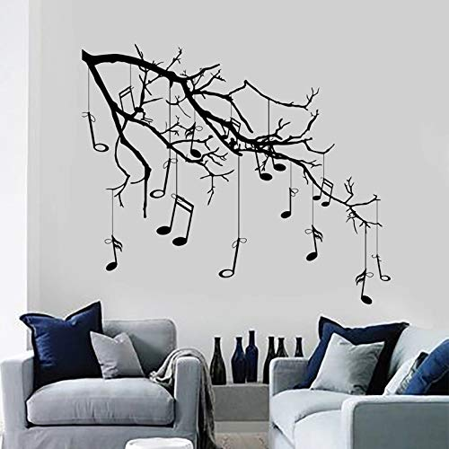 Música creativa gran árbol etiqueta de la pared etiqueta de vinilo citas inspiradoras música arte de la pared decoración de la habitación suministros