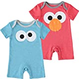 Sesame Street Infant Baby Boys' 2 Piece Elmo and Cookie Monster Baby Romper Set Red/Blue 3-6 Months