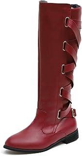 d63b93a957b7 HYIRI High Cowboy Boots,Women s Ladies Shoes Buckle Roman Riding Knee Snow Long  Boots