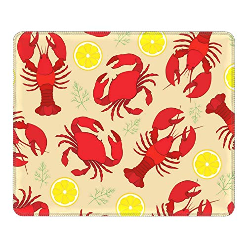 Mouse Pad, Red Lobster and Crab Lemon Towel Tea Towel Flower Anti-Slip Rubber Mousepad with Durable Stitched Edges for Gaming Office Laptop Computer PC Men Women Kids