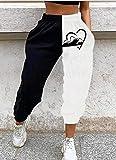 haochenli188 Pantalones Deportivos Blancos Negros con Estampado De Cara Abstracta, Pantalones Deportivos Elegantes con Bolsillo En La Cintura EláStica para Mujer, Estilo IngléS L Figure3