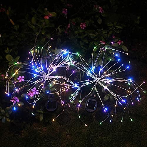 WOERD Paquete de 2 luces solares de jardín, luz solar de fuegos artificiales, 105 luces LED decorativas al aire libre de estaca de luz de paisaje para pasarela, patio, patio, Navidad, fiesta de boda