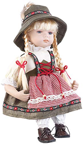 PEARL Deko: Sammler-Porzellan-Puppe Anna mit bayerischer Tracht, 34 cm (Sammlerpuppe)