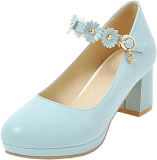 MisaKinsa Women Sweet Block Heel Pumps Ankle Strap
