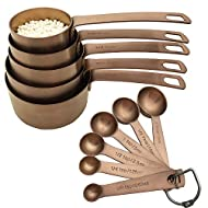 Bestton 11 Pcs Heavy Duty Copper Measuring Cups and Spoons Set Stainless Steel Baking Measurement Utensils, Weigh Liquid and Dry Ingredients
