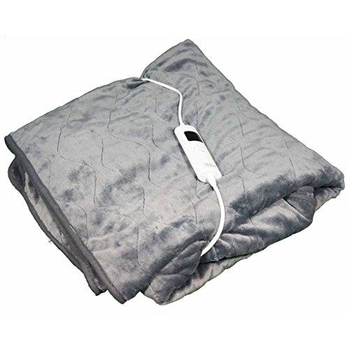 Mesa Living graue Elektrische Heizdecke extra groß weich und kuschelig 180 cm x 130 cm waschbar