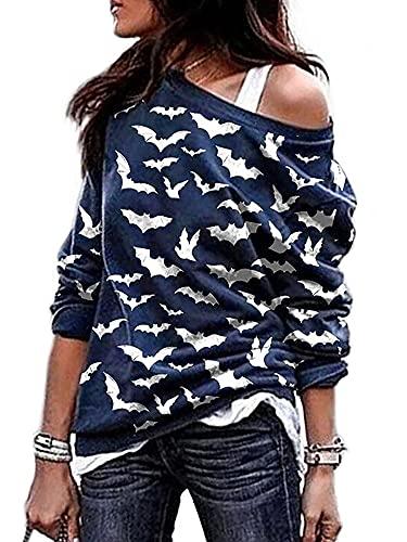 Achinel Damska bluzka z odsłoniętymi ramionami nietoperz dynia nadruk koszulki z długim rękawem na co dzień bluza pulower bluzka, Nietoperz granatowy, L