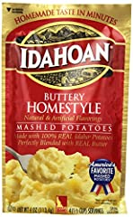 Made with 100-Percent Real Idaho potatoes Naturally Gluten-Free potatoes perfectly blended with rich butter for a classic favorite Includes one convenient 4oz pack, 4 servings Easy and quick to prepare—simply add water and ready in 4 minutes Great to...