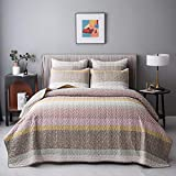 AiJar Home Pink/Lavender Stripe Floral Patchwork 2-Piece Twin Size (68' x 88') Quilt Set with Pillow Shams, Modern Chic Printed Pattern, Lightweight Microfiber Bedspread/Coverlet/Bed Cover