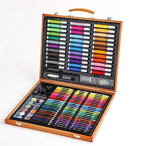 Juego de bolígrafos de acuarela, 150 unidades, para niños, caja de regalo, acuarela, aceite, pastel, juego de lápices de acuarela (color: marrón, tamaño: 23,3 x 37,3 x 4,6 cm)
