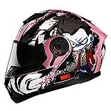 BUETR Off-road casco protector al aire libre moto bicicleta casco eléctrico casco de equitación casco deportivo-Safflower Alien (White Mist Mirror) _M