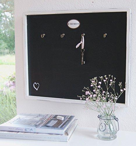 Memoboard Schlüsselbrett in Weiß mit Tafel im Landhaus Shabby Chic Stil mit Haken