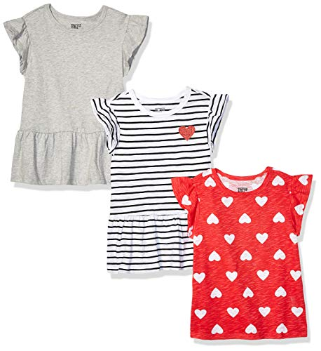 Spotted Zebra 3-Pack Short-Sleeve Ruffle Tops fashion-t-shirts, Hearts and Stripes, Medium (8), 3er