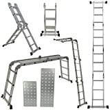 ARKSEN 12.5-feet Aluminum Ladder EN131 Platform Multi-Purpose Extension Multi-Task Folding Light Weight (2 Free Plate)