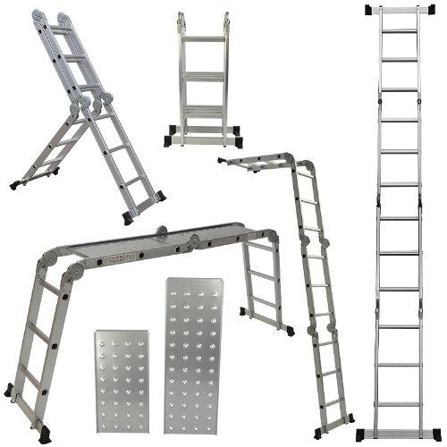 ARKSEN 12.5-feet Aluminum Ladder EN131 Platform Multi-Purpose Extension Multi-Task Folding Light Weight (2 Free Plate)