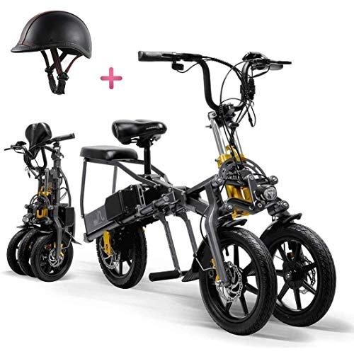 GBX E-Bike Für Erwachsene, Elektrisches Dreirad Für Faltbare Dreirädrige Mountainbike-Miniroller Für Erwachsene Bis Zu 30 Km 25 Km/H Lithiumbatterie Drei-Gang-Modi Big Wheels Sport