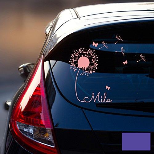 ilka parey wandtattoo-welt® - Autocollant en forme de pissenlit pour les pare-brise arrière - Inscription : prénom (personnalisable) correspondant à « Bébé à bord »