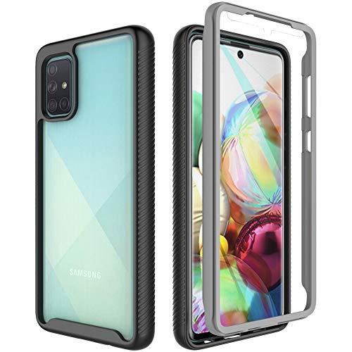 OWKEY Funda Samsung a71 + Pantalla Protector Integrado (Protector 2 en 1) Carcasa TPU+PC 360 5X Grado Militar Anti-caída Protección para Samsung a71 -Transparente (6.7')